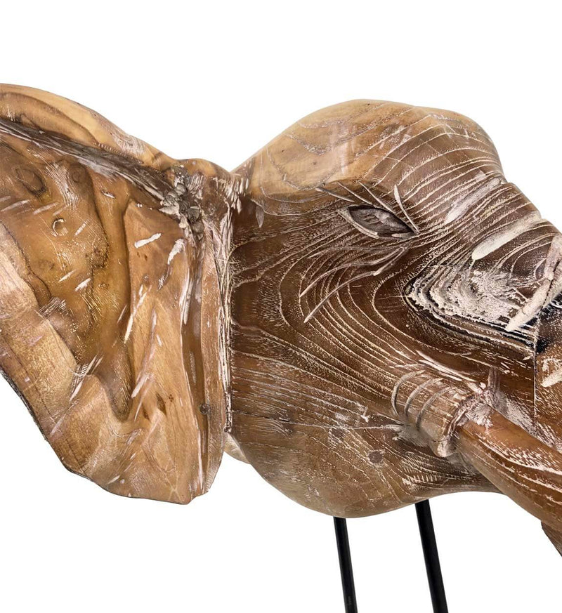 Elephant Head Figure, Teak Wood