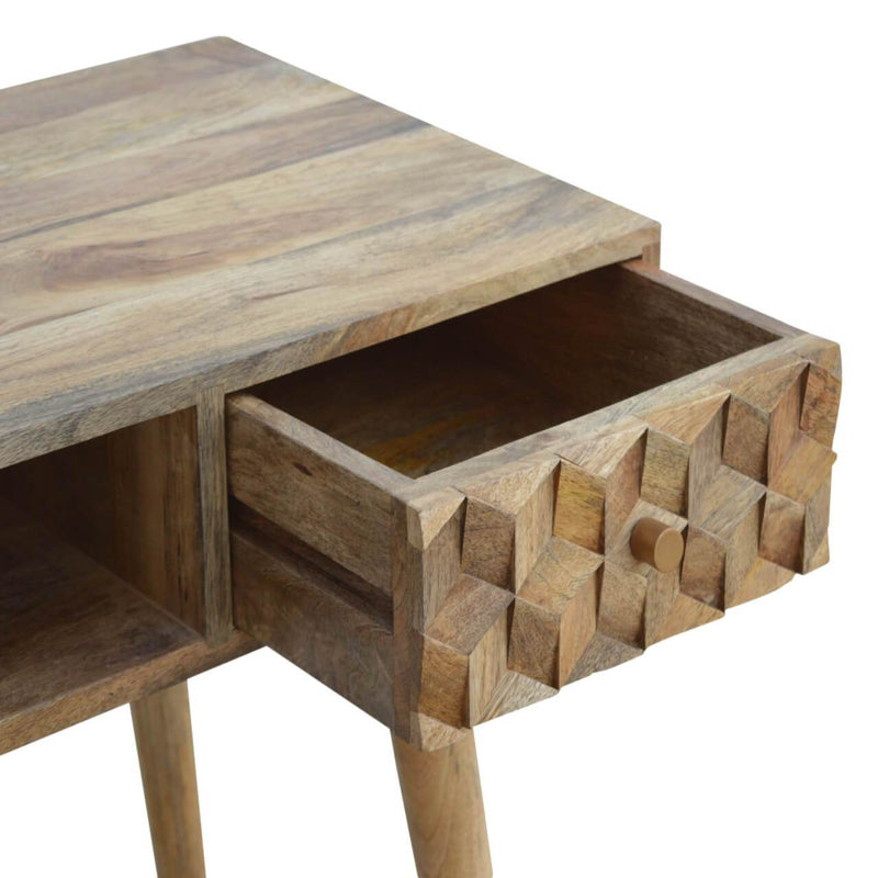 Handcrafted Solid Wood Cube Carved Desk - HM_FURNITURE