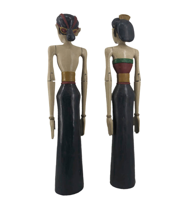 Indonesian Couple Figure, Teak Wood