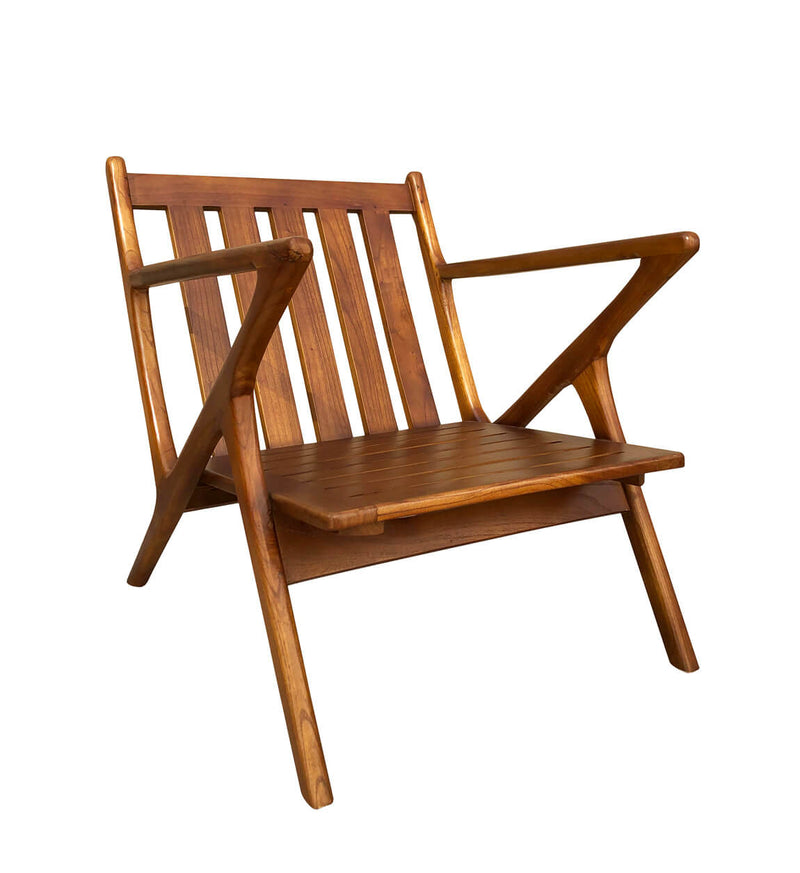 Andre - Teak Wood & Leather Armchair
