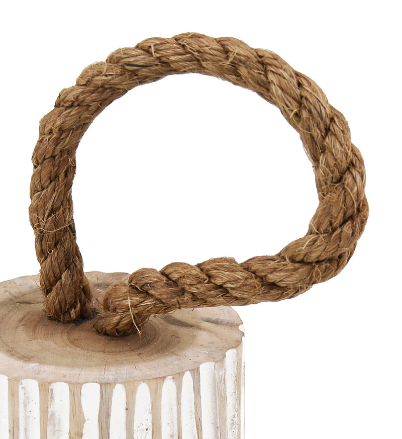 Round Doorstop, Teak Wood & Rope