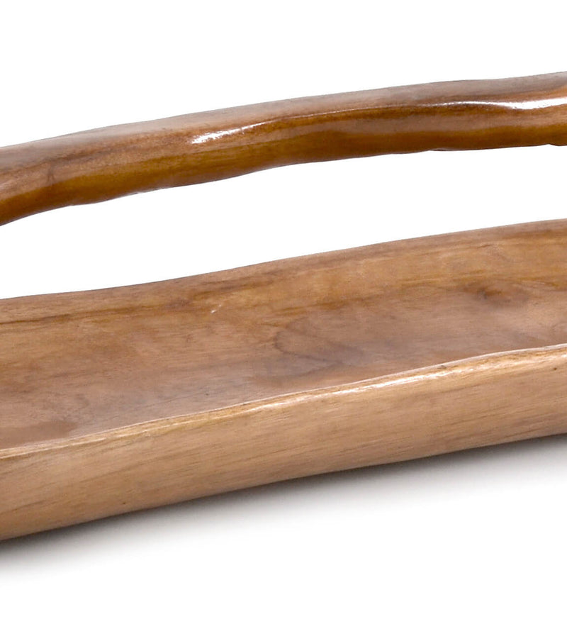 Erosi - Centrepiece With Handle, Teak Wood
