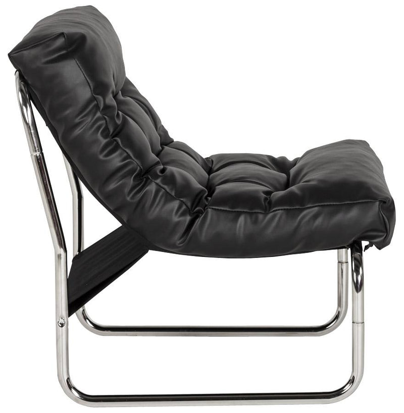 Chrome Steel Leather Padded Chair - HM_FURNITURE