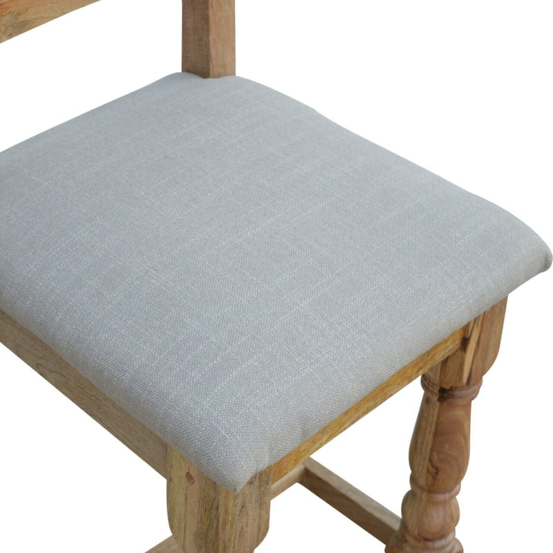 Handcrafted Dining Chair With Linen Seat - Set of 2 - HM_FURNITURE
