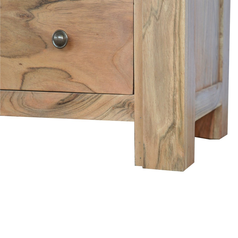 Handcrafted Solid Wood Media Unit With Cut Out Wire Slot - HM_FURNITURE