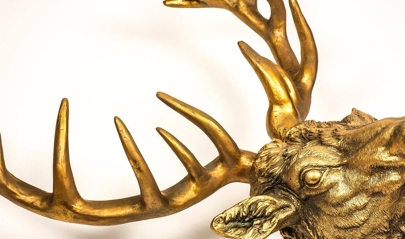 Resin Gold Brushed Stag Head Wall Art - HM_FURNITURE