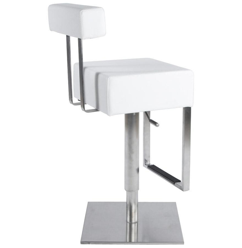 Stainless Steel and Faux Leather Padded Seat Ergonomic Bar Stool - HM_FURNITURE