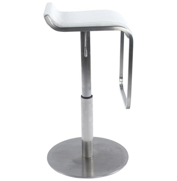 Stainless Steel and Faux Leather Adjustable Bar Stool 83 CM - HM_FURNITURE