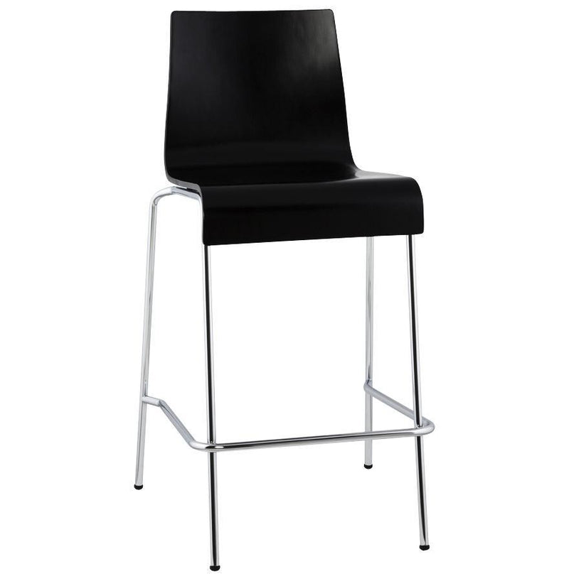 Chrome Plated Metal Frame and Wooden Seat Bar Stool 94 CM - HM_FURNITURE