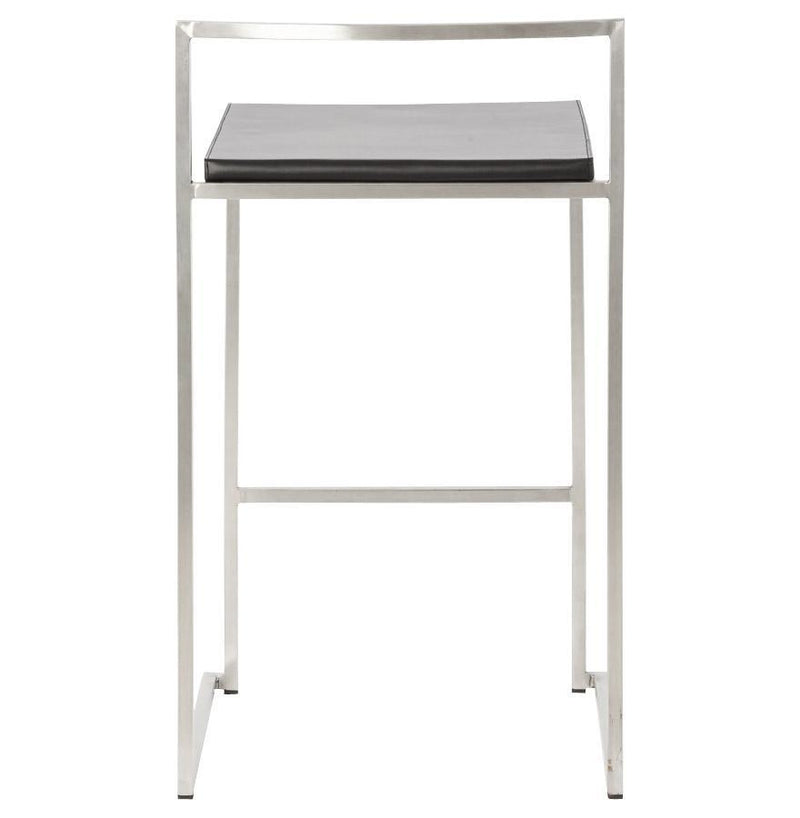 Stainless Steel and Faux Leather Designer Stool - HM_FURNITURE