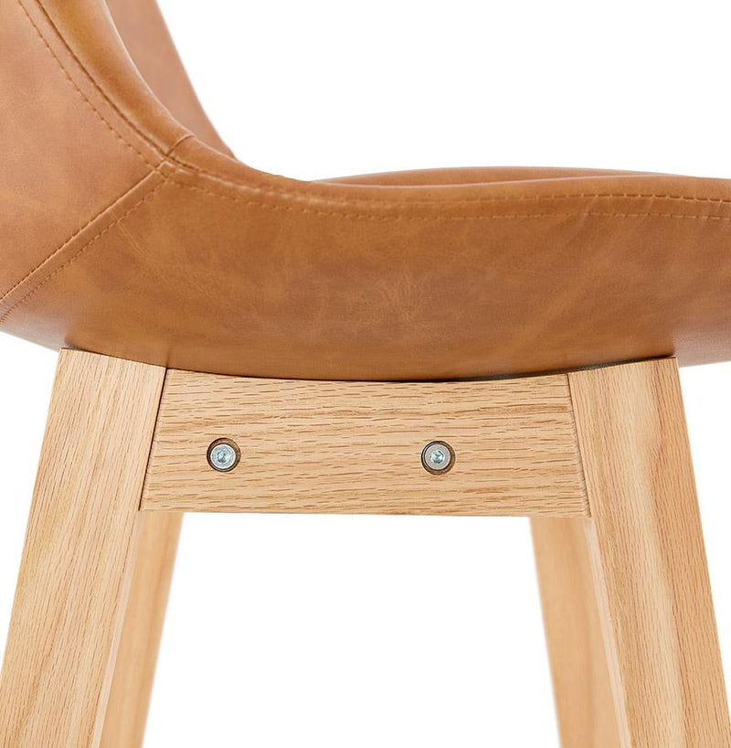 Astrid - Elegant Bar Stool With Wooden Base and Leather Seat 112 CM - HM_FURNITURE