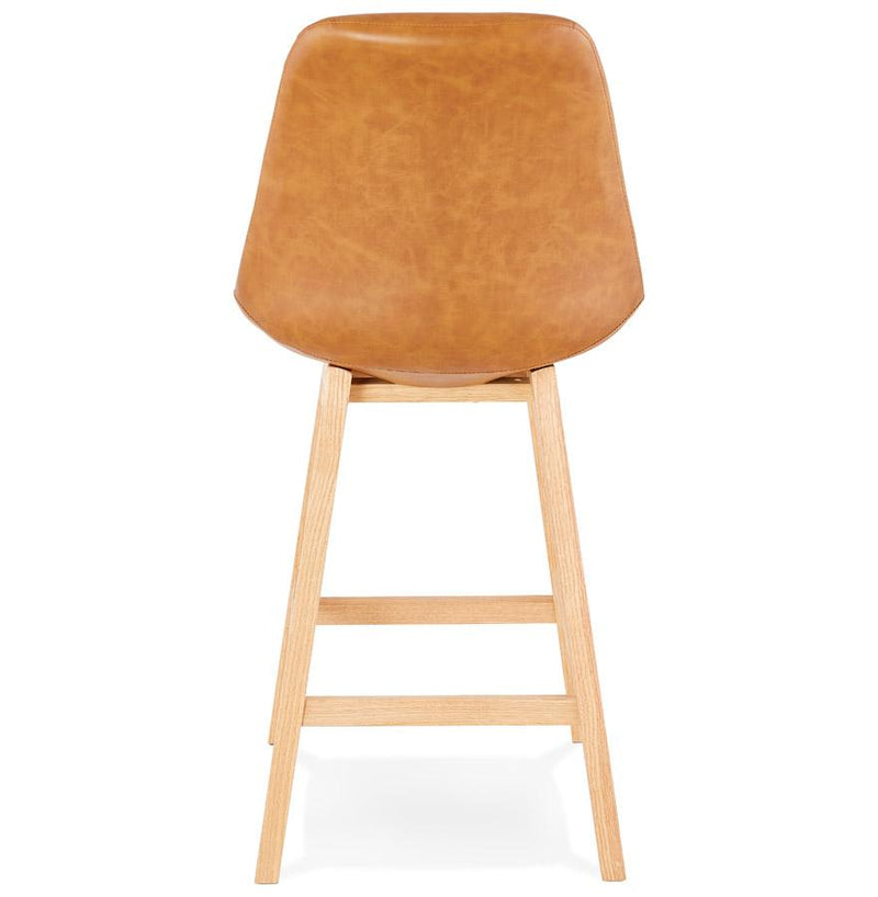 Astrid Mini - Bar Stool With Wooden Base and Leather Seat - HM_FURNITURE