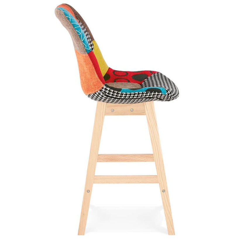 Alva - Multi Colour Bar Stool With Wooden Base - HM_FURNITURE