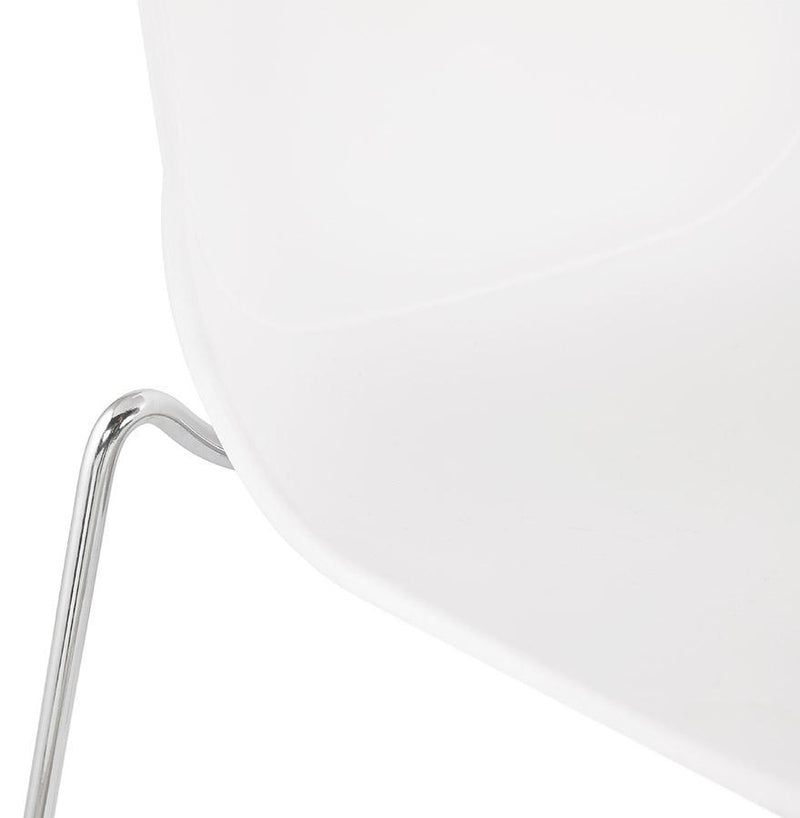 Aslog - Modern Bar Stool With Metal Base in Black or White - HM_FURNITURE