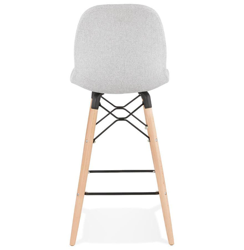 Asmund - Scandinavian Style Bar Stool With Wooden Base and Fabric Seat - HM_FURNITURE