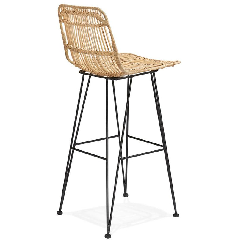 Liam - Modern Bar Stool With Rattan Seat and Metal Base - HM_FURNITURE