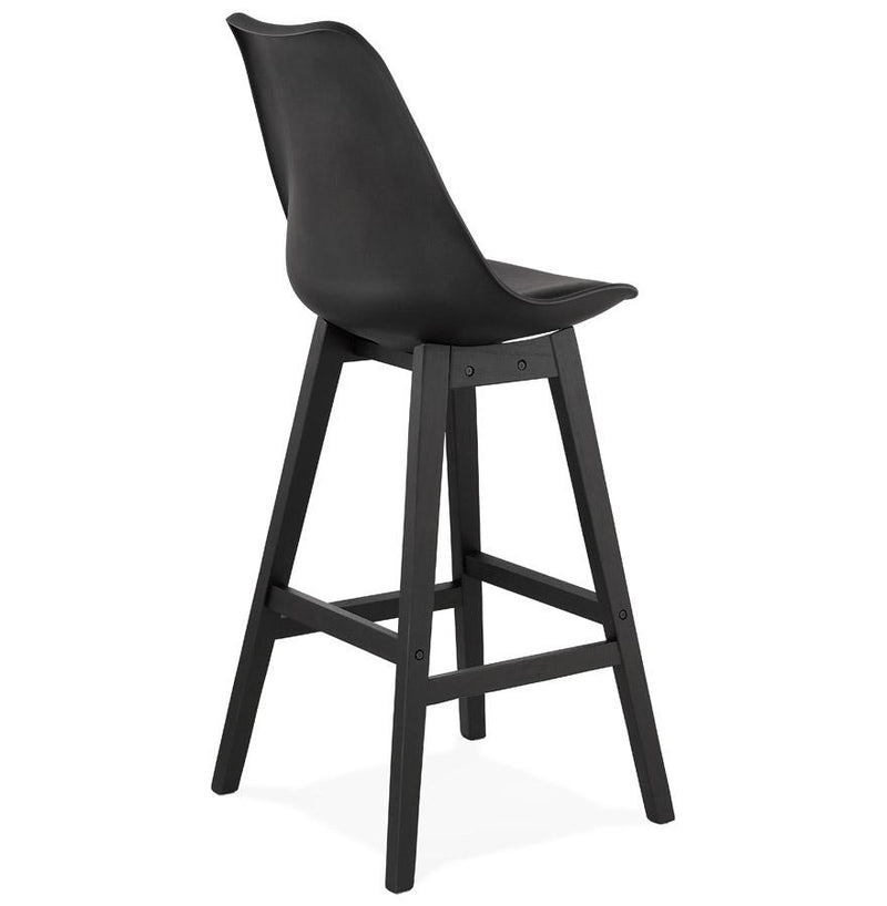 Brant - Nordic Style Stool With Wooden Base and Leather Padded Seat - HM_FURNITURE
