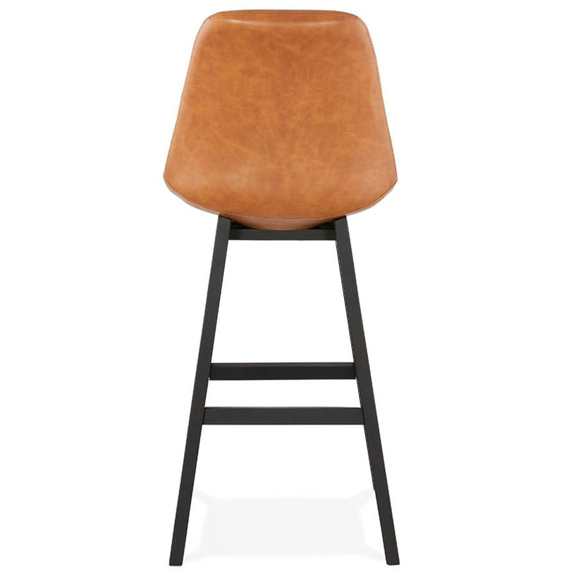 Calder - Scandinavian Style Bar Stool With Wooden Base and Leather Seat - HM_FURNITURE
