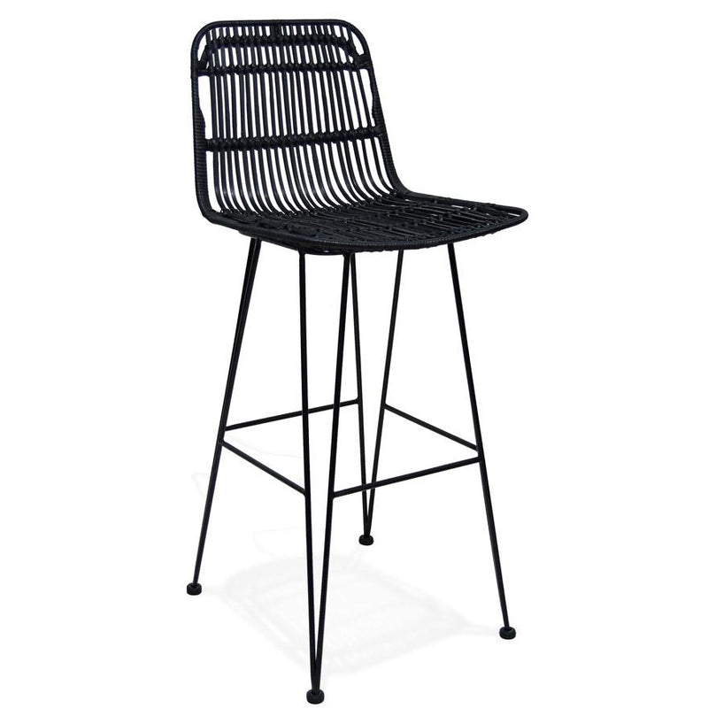 Liam Black Edition - Bar Stool With Ratan Seat and Metal Base - HM_FURNITURE