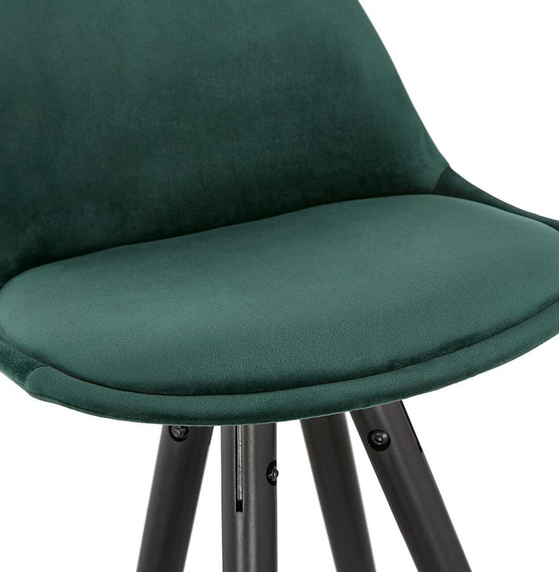 Henning - Bar Stool With Velour Seat and Wooden Base in Blue, Green, Grey and Black - HM_FURNITURE