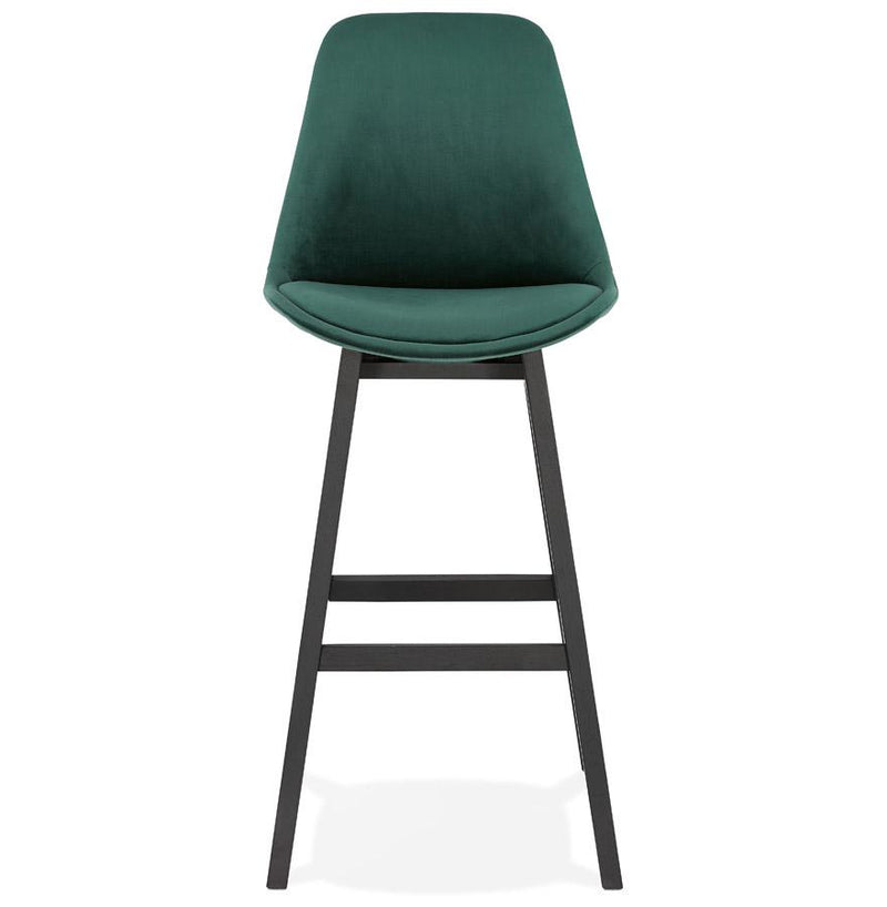 Henning II - Bar Stool With Velour Seat and Wooden Base in Blue, Green, Grey and Black - HM_FURNITURE