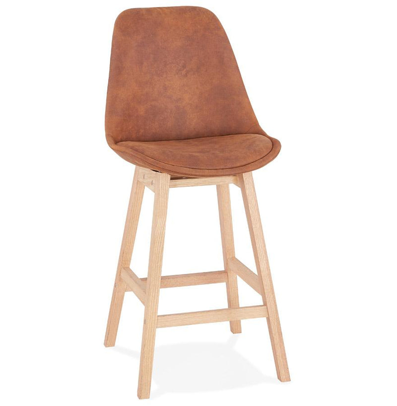 Henning II - Scandinavian Style Bar Stool With Velour Seat and Wooden Base - HM_FURNITURE