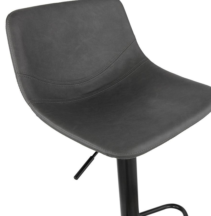 Rebekka - Height Adjustable Classic Bar Stool With Leather Seat and Metal Base - HM_FURNITURE