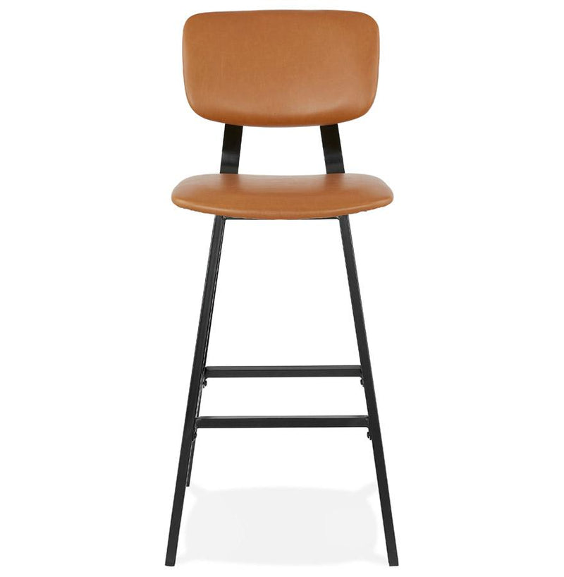 Alicia - Vintage Look Bar Stool With Leather Seat and Metal Base - HM_FURNITURE