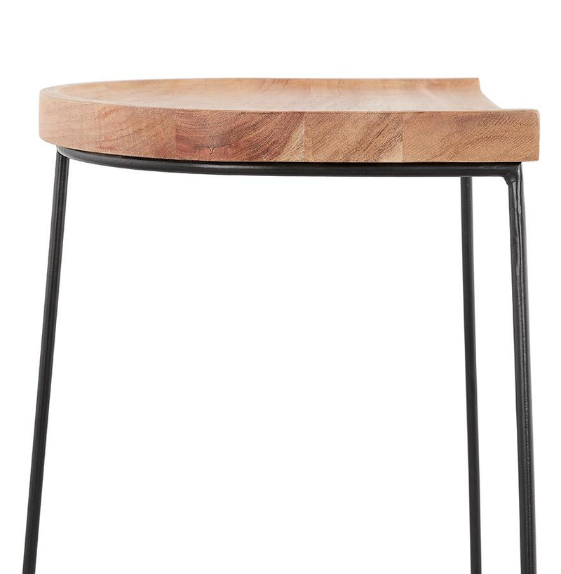 Nalu - Contemporary Bar Stool With Wooden Seat - HM_FURNITURE