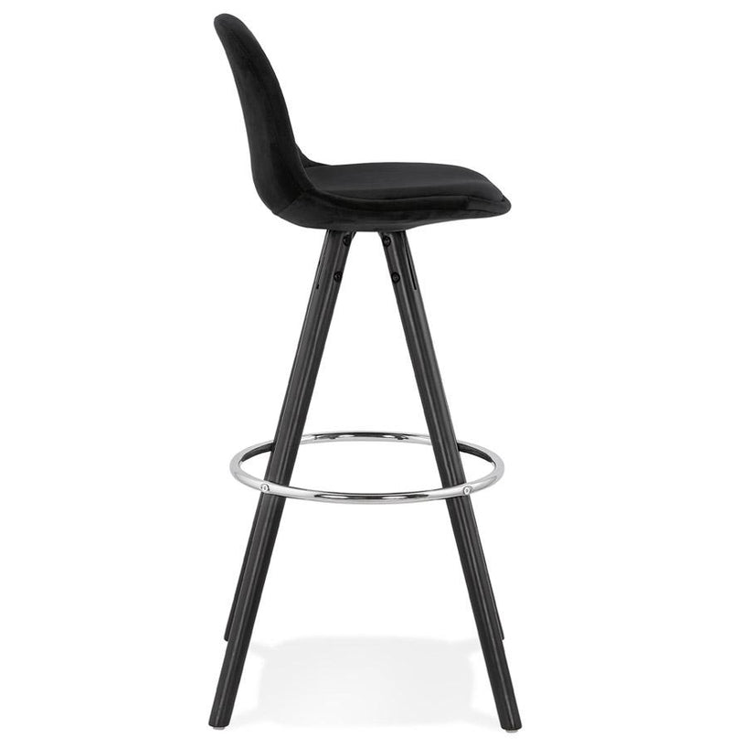 Henning Chrome - Bar Stool With Velour Seat and Wooden Base 97 CM - HM_FURNITURE