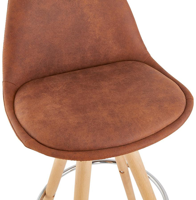 Henning Micro - Bar Stool With Wooden Base and Microfibre Seat - HM_FURNITURE