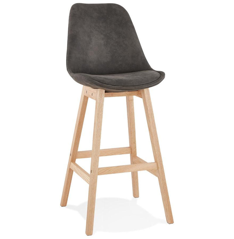 Artur - Scandinavian Inspired Bar Stool With Wooden Base and Microfibre Seat - HM_FURNITURE