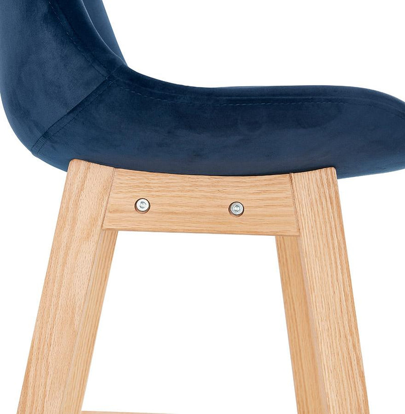 Sten - Bar Stool With Wooden Base and Velour Seat - HM_FURNITURE