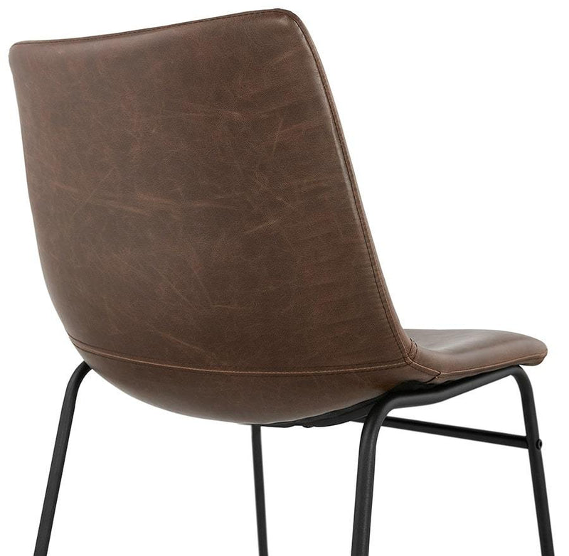 Alf - Elegant Chair With Painted Base Metal and Leather Seat - HM_FURNITURE