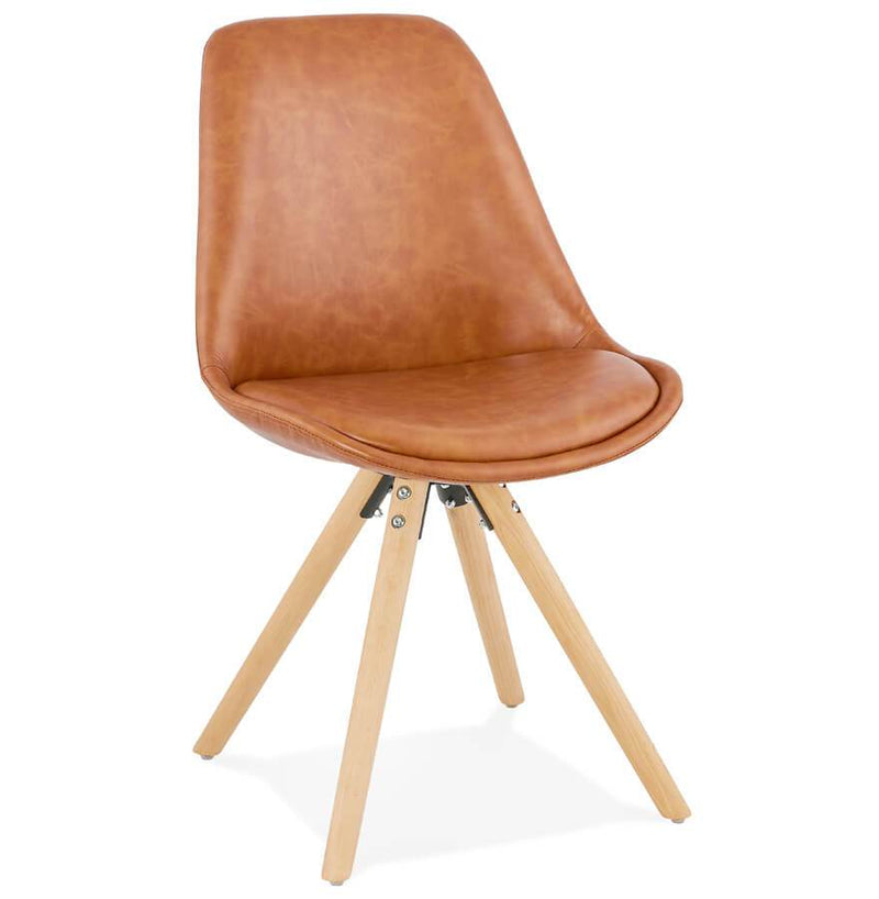 Steve - Scandinavian Inspired Chair With Wooden Base and Leather Seat - HM_FURNITURE