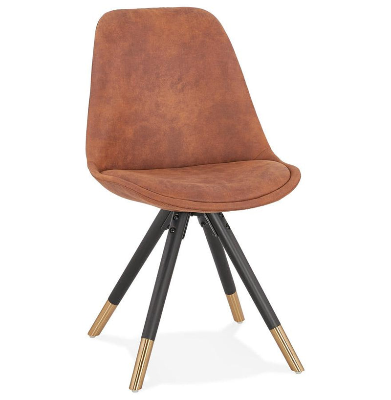 Nina Chair With Padded Seat Back And Wood Base - HM_FURNITURE