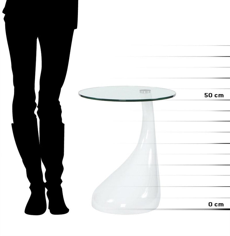 Multi-Use Table With Fibreglass Structure and Tempered Glass Top 54 CM - HM_FURNITURE