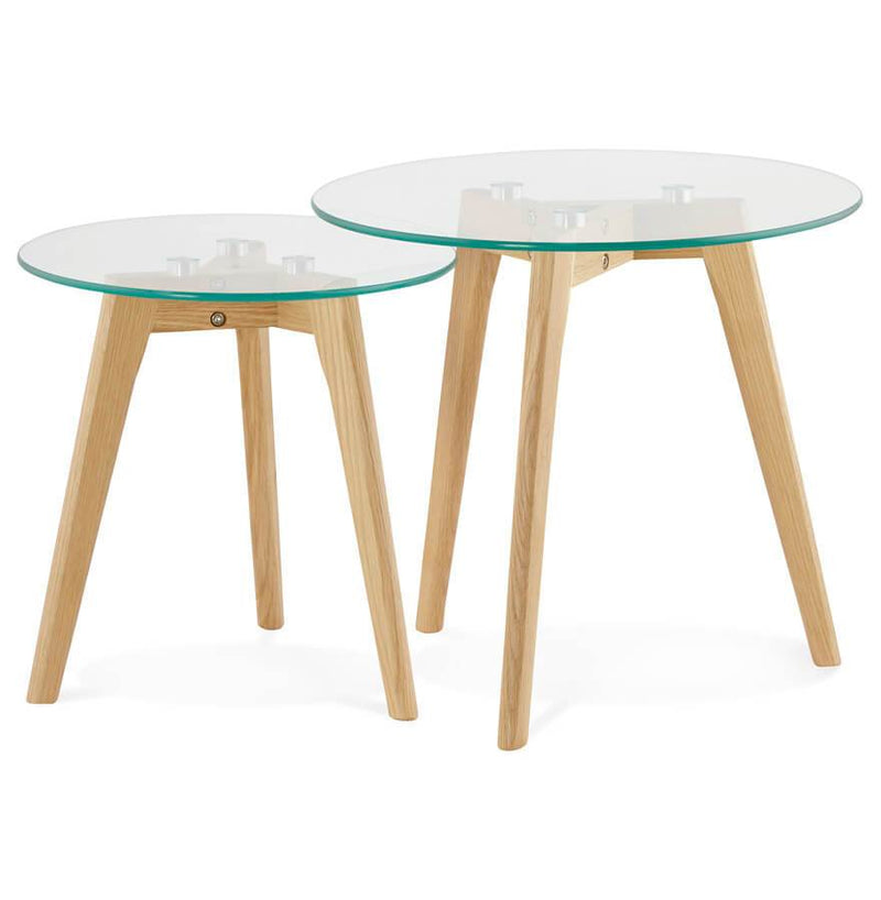 Adele - Nested Tables With Tempered Glass Top 45 CM - HM_FURNITURE