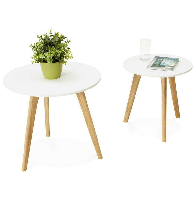 Adele - Nested Tables With White Painted Wooden Top 45 CM - HM_FURNITURE