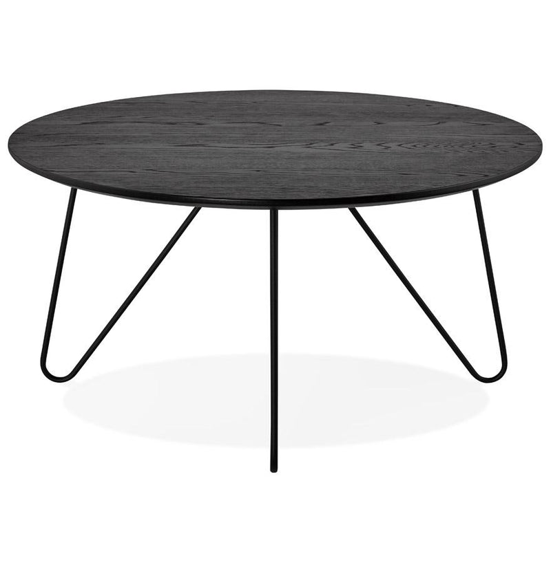 Runda - Coffee Table With Wooden Top and Metal Base - HM_FURNITURE