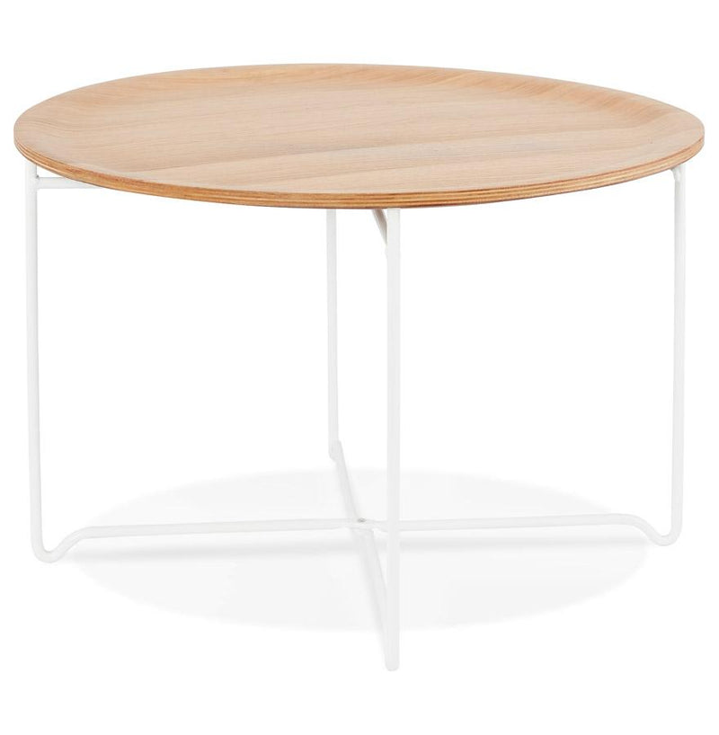 Edina - Coffee Table With Wooden Top and Metal Base - HM_FURNITURE