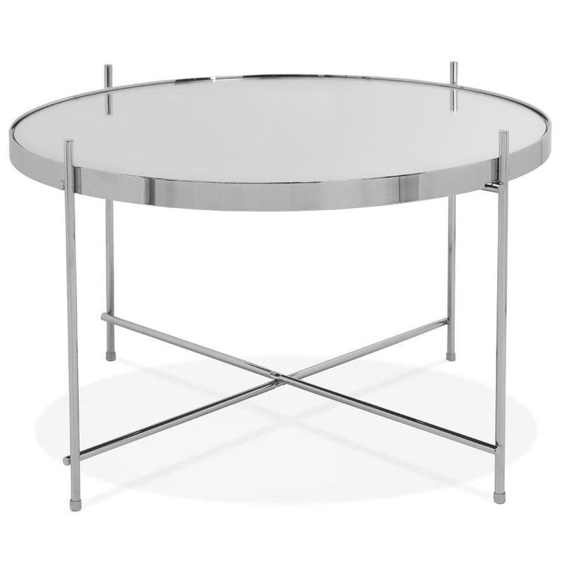 Alonzo Mini - Coffee Table With Metal Structure and Mirrored Glass Top - HM_FURNITURE