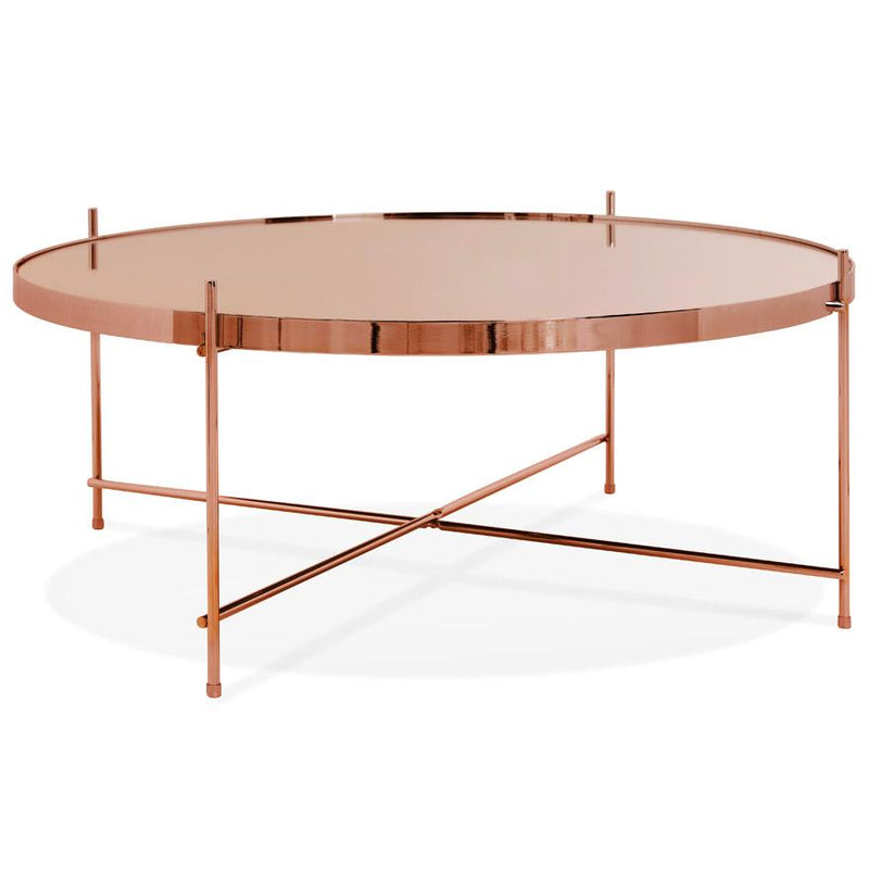 Alonzo - Coffee Table With Metal Structure and Mirrored Glass Top - HM_FURNITURE