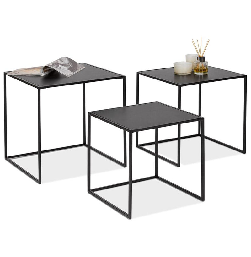 Ederne - Nested Tables With Painted Wooden Top and Metal Base - HM_FURNITURE