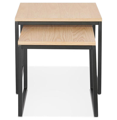 Ellesio - Nested Tables With Wooden Top and Metal Base - HM_FURNITURE