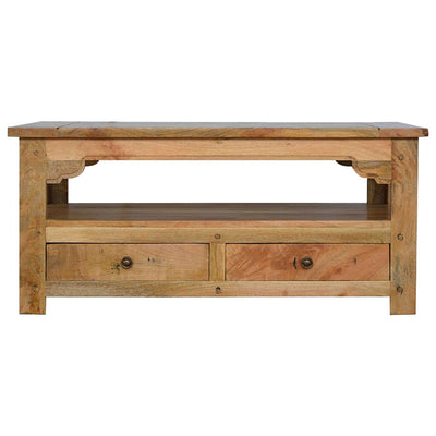 Handcrafted Mango Wood Coffee Table With 4 Drawers - HM_FURNITURE