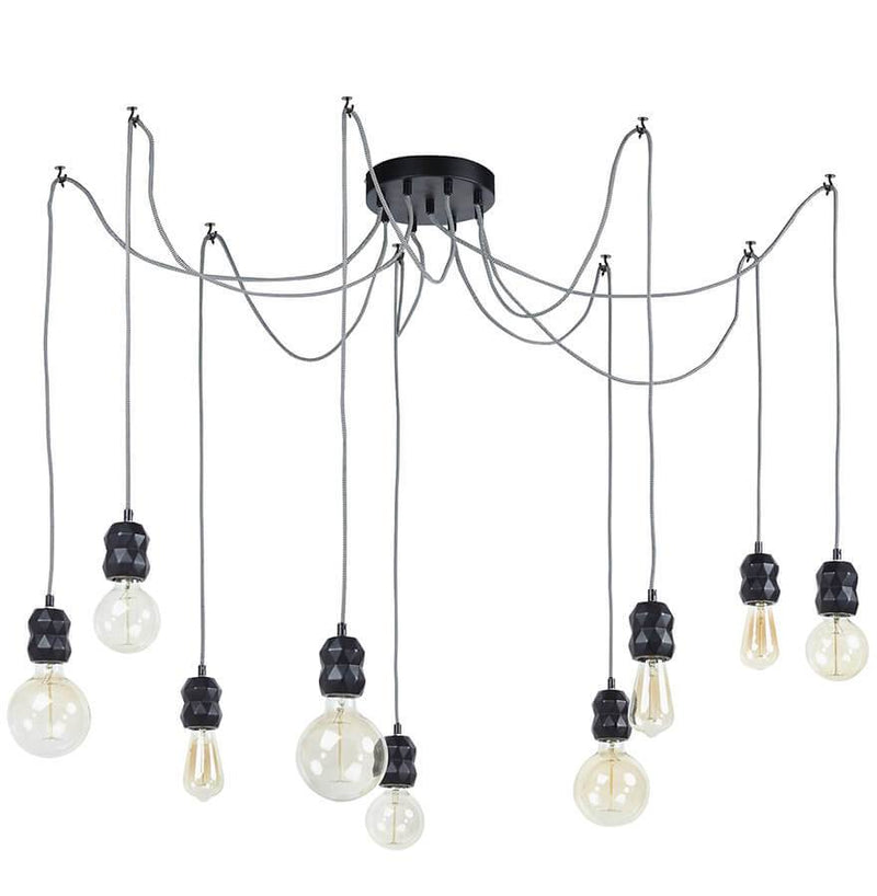 Hanging Lamp With 9 Bulb Holders In Distinguished Geometric Shapes - HM_FURNITURE