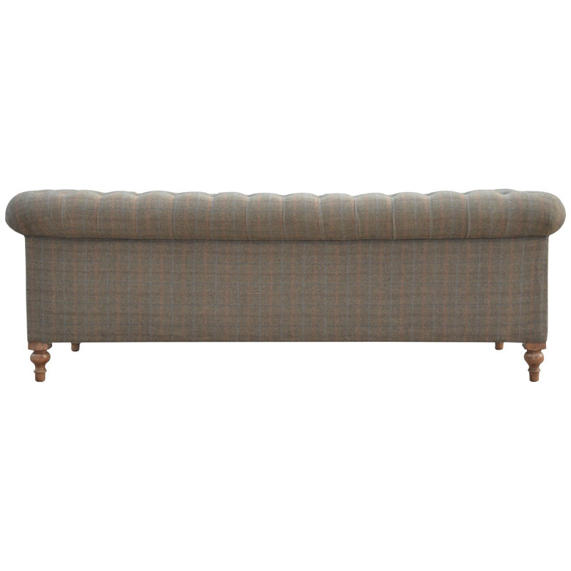 Handcrafted Solid Wood Multi Tweed 3 Seater Sofa - HM_FURNITURE