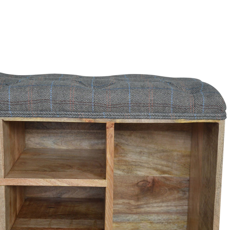 Mango Wood 6 Slots Shoe Storage Bench - HM_FURNITURE