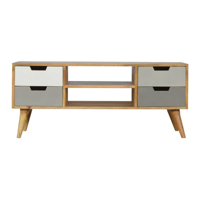 Handcrafted Media Unit With 4 Painted Drawers and 2 Open Slots - HM_FURNITURE